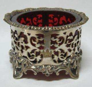 Rare Elkington & Company Silver & Cranberry Glass Open Salt Cellar Dish 1846 photo