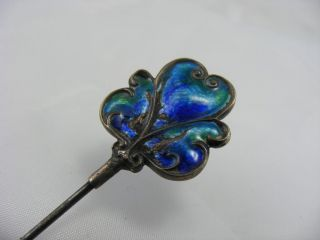 Antique Victorian Solid Siver Liberty Co Enamel Top Hat Pin Large Charles Horner photo