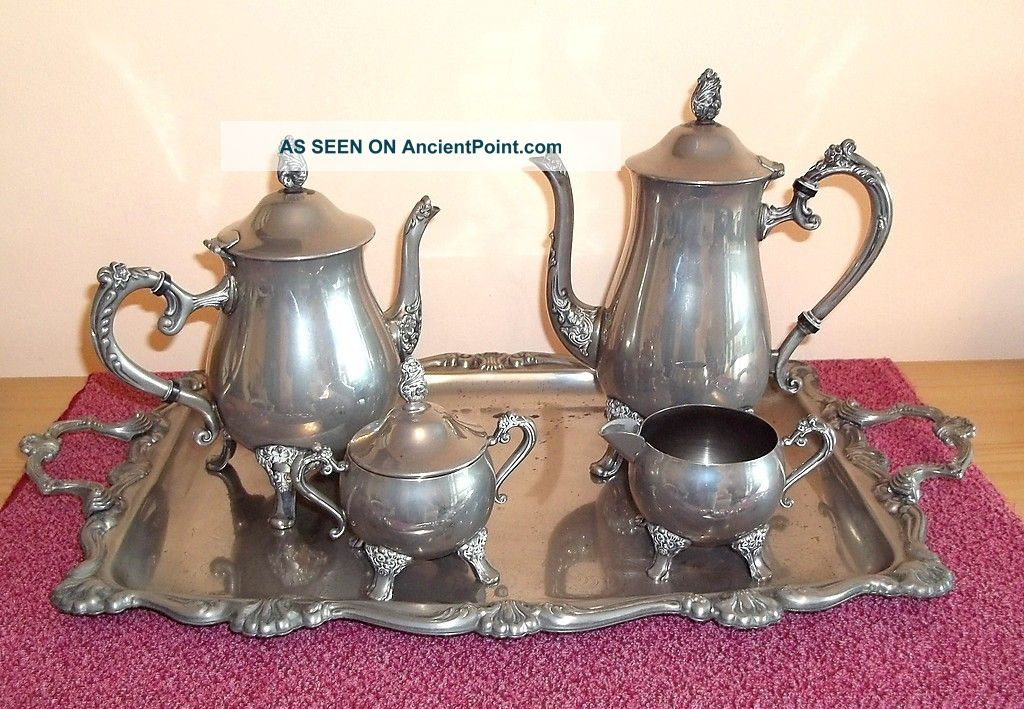 Good Vintage Silver Plated Coffee / Tea Set With Milk And Sugar On Large Tray Tea/Coffee Pots & Sets photo