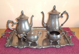 Good Vintage Silver Plated Coffee / Tea Set With Milk And Sugar On Large Tray photo