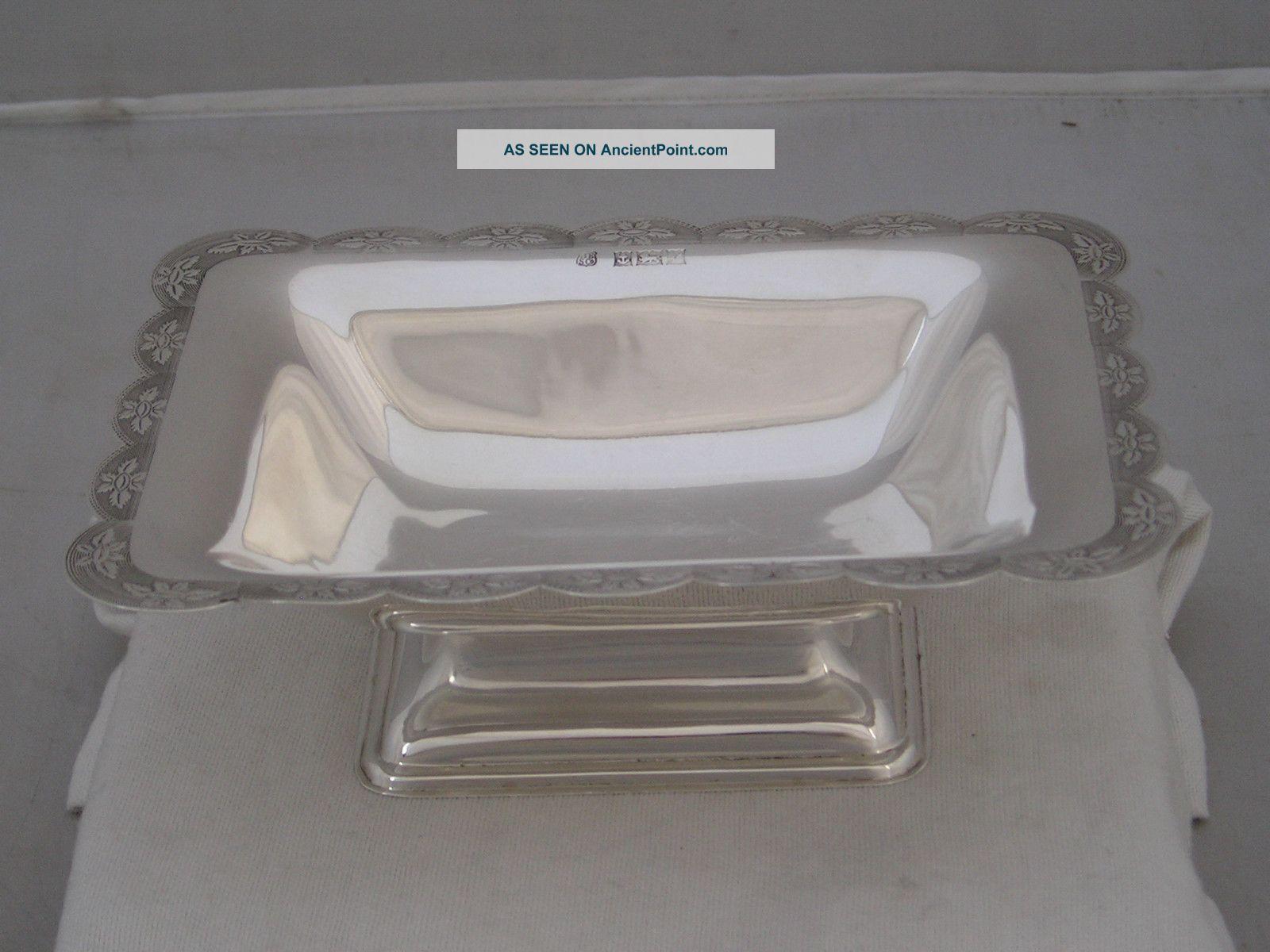 Lovely Elizabeth Ii 1970 Hallmarked Silver Oblong Dish 160g Bowls photo