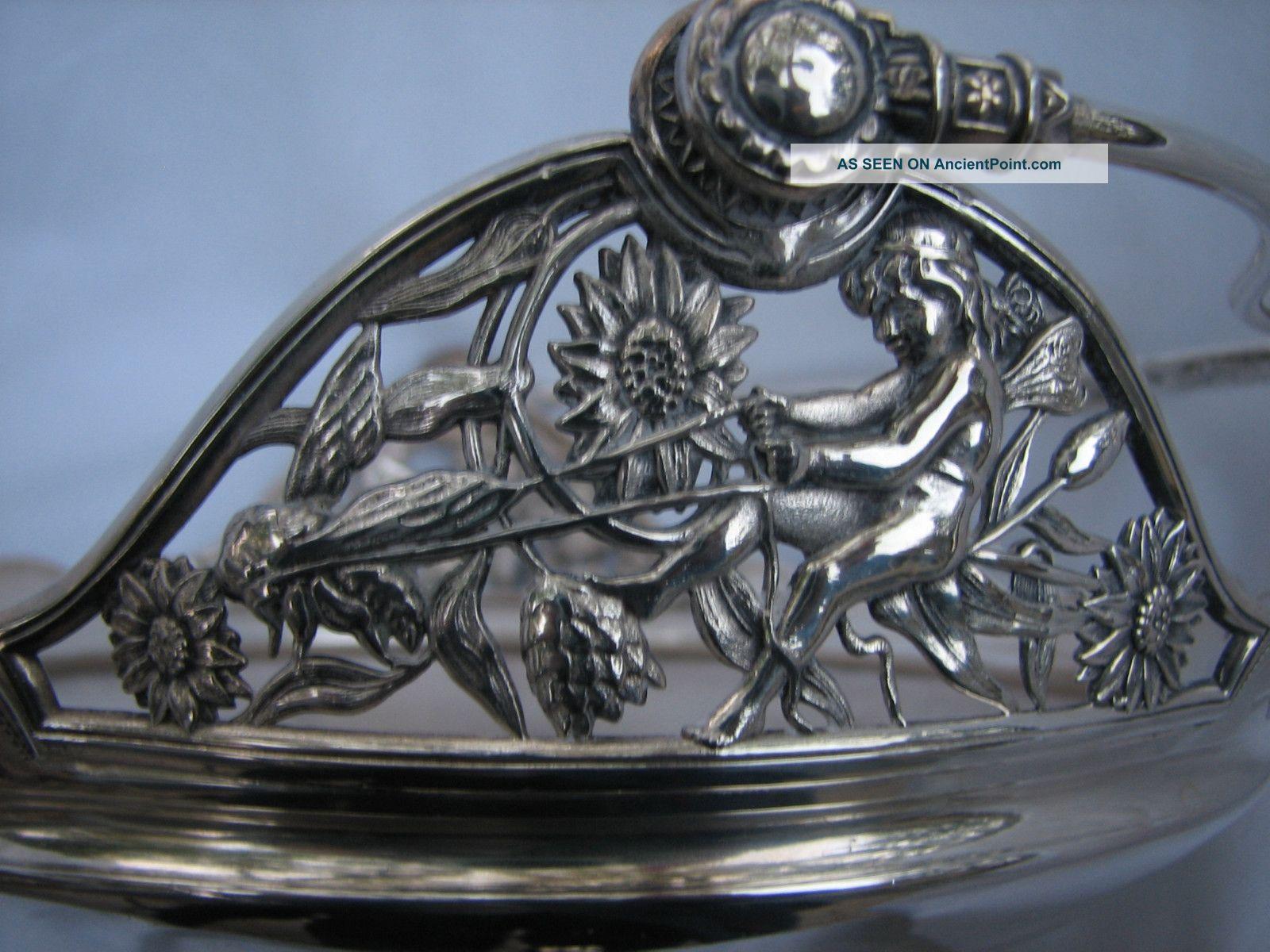 Antique Aesthetic Meriden Silverplate Brides Basket Fairies Butterfly Bat Dragon Baskets photo