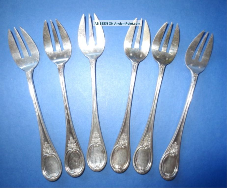 6 Silverplated Seafood Forks Cocktail Oyster - Mono Stj - Unknown Marker Silver Unknown photo