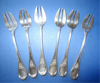 6 Silverplated Seafood Forks Cocktail Oyster - Mono Stj - Unknown Marker Silver photo