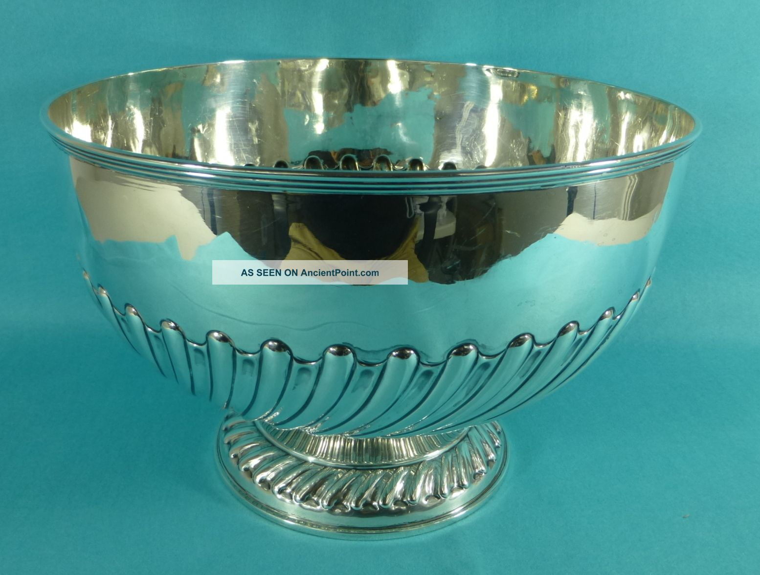 Large Edwardian Sterling Silver Punch Bowl 10.  5 Inch William Hutton London 1902 Bowls photo