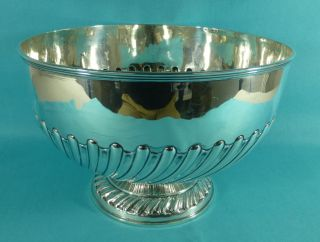 Large Edwardian Sterling Silver Punch Bowl 10.  5 Inch William Hutton London 1902 photo