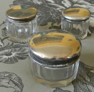 3 Antique Cut Crystal & Sterling Silver Vanity Jars Powder Cream Gorgeous photo