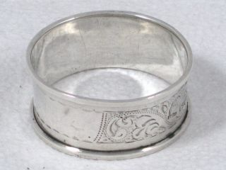 Antique Chester H ' M Sterling Silver Serviette Or Napkin Ring Dated 1921 photo