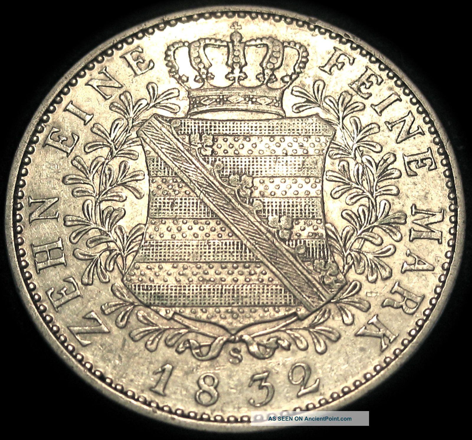German States - Kingdom Of Saxony - Albertine 1832s Silver Thaler - Rare Coin Germany photo