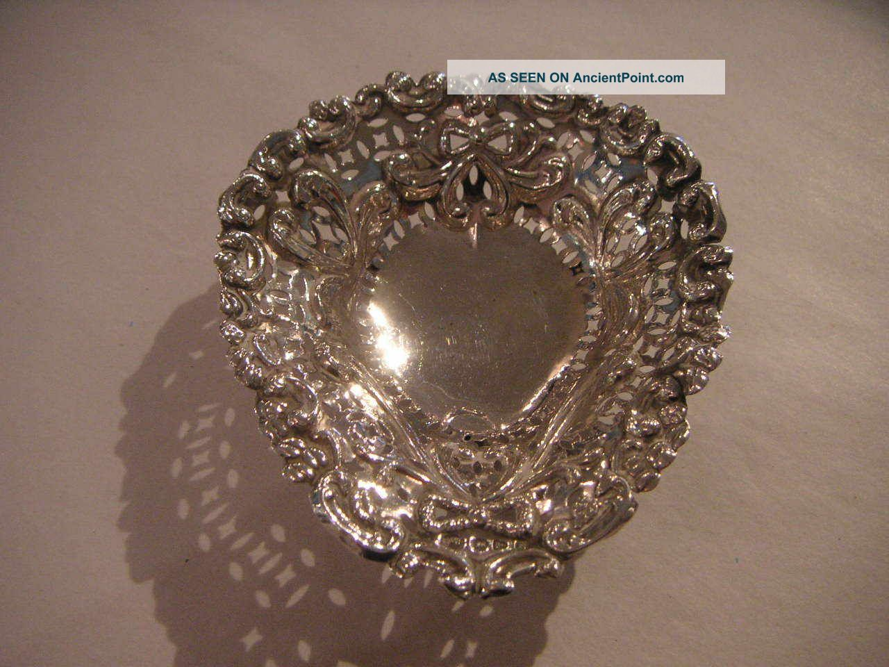 Antique Silver Ring Dish With Swag & Bow Decoration 1896 Dishes & Coasters photo