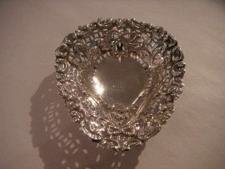 Antique Silver Ring Dish With Swag & Bow Decoration 1896 photo