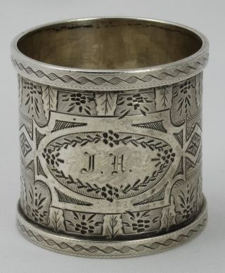Fab Ornate Engine - Turned Coin Silver Napkin Ring photo