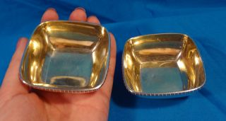 Tiffany & Co Sterling Silver Pair Salt Bowls With Gold Wash photo