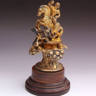 Victorian Gold Gilt Bronze / Silver Saint George Dragon Seal Paperweight Figure photo