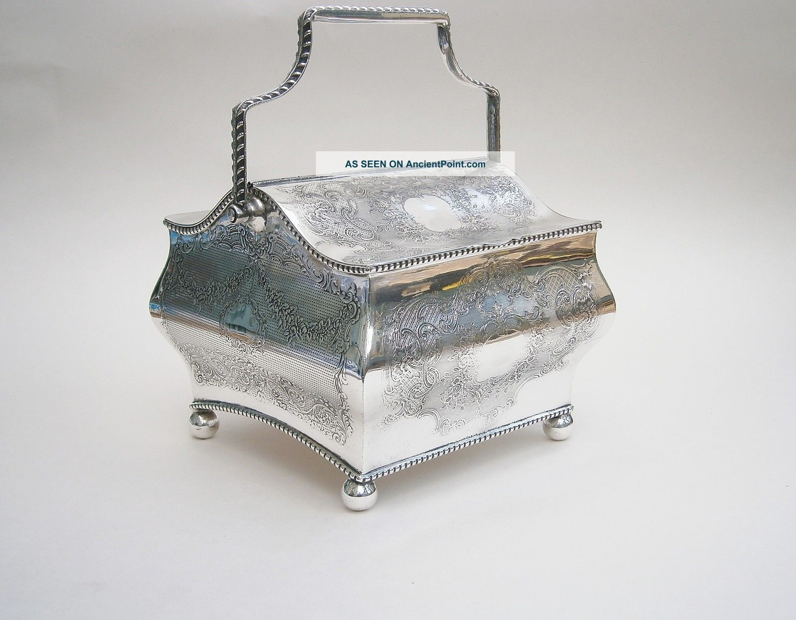 Late Victorian Silver Plated Tea/biscuit Caddy Boxes photo