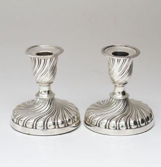 A Pair Of Victorian Silver Candlesticks.  Sheffield 1897 photo