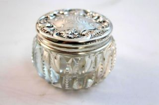 Circa 1900 Antique Sterling Silver Repousse Wallace & Sons Abp Cut Glass Jar Box photo