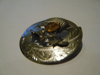 Solid Silver Brooch With Thistle Design And Amber Stone Fully Hallmarked photo