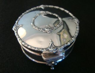 Hallmark Silver Ring Or Trinket Box - Footed - Antique photo