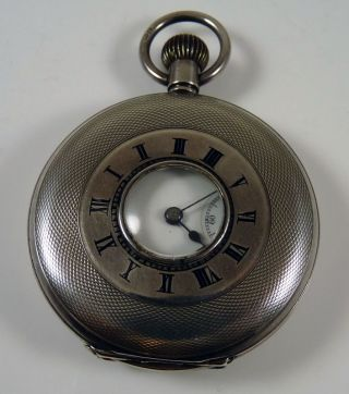 Antique Solid Silver Half Hunter Pocket Watch - Hallmarked 1913 - Working Order photo