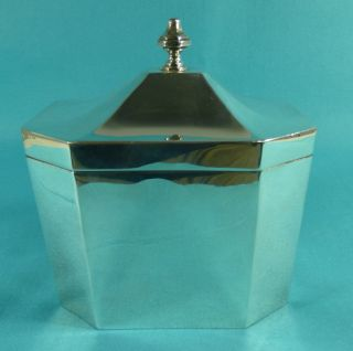 Sterling Silver Octagonal Tea Caddy Box Pairpoint Brothers London 1913 photo