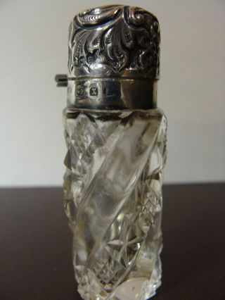 Antique 1897 Sterling Silver Perfume Scent Bottle Levi & Salaman photo