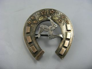 Antique Victorian Solid Silver 9ct Rose Gold Isle Of Man Horseshoe Pin Brooch photo