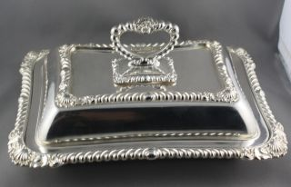 Vintage Silver Plated & Handled Serving Dish Made In England photo