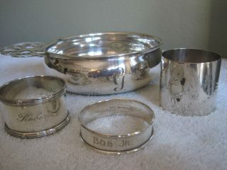 Antique Sterling Silver Porridge Bowl And 3 Sterling Engraved Napkin Rings photo