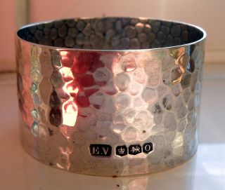 Solid Silver Hammered Effect Viner Napkin Ring 22g - Two photo