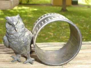 1800 ' S Antique Victorian Figural Silverplate Napkin Ring Holder Owl Old Old photo