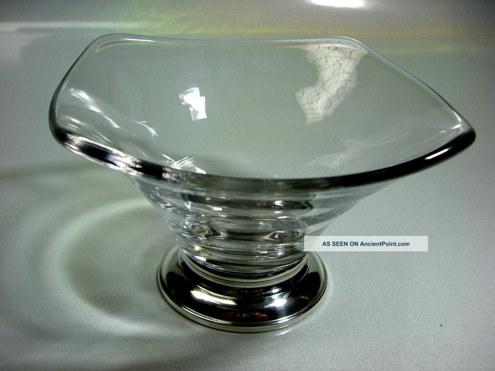 Handblown Crystal Candy Dish Sterling Silver Base