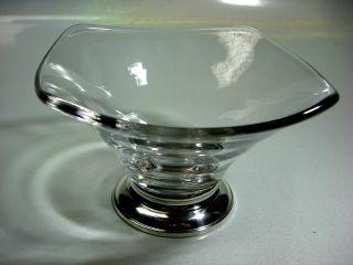 Handblown Crystal Candy Dish Sterling Silver Base