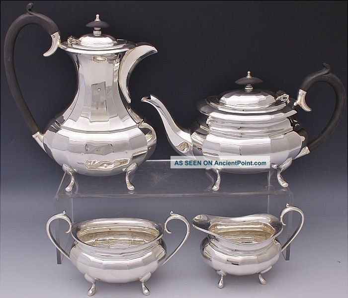Handsome C1910 Edwardian Sheffield Silver Plate Footed 4pc Tea & Coffee Service Tea/Coffee Pots & Sets photo