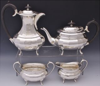 Handsome C1910 Edwardian Sheffield Silver Plate Footed 4pc Tea & Coffee Service photo