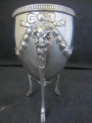 Solid Silver Adams Style Sugar Bowl / Egg Cup - Goat Head & Feet - London 1906 photo