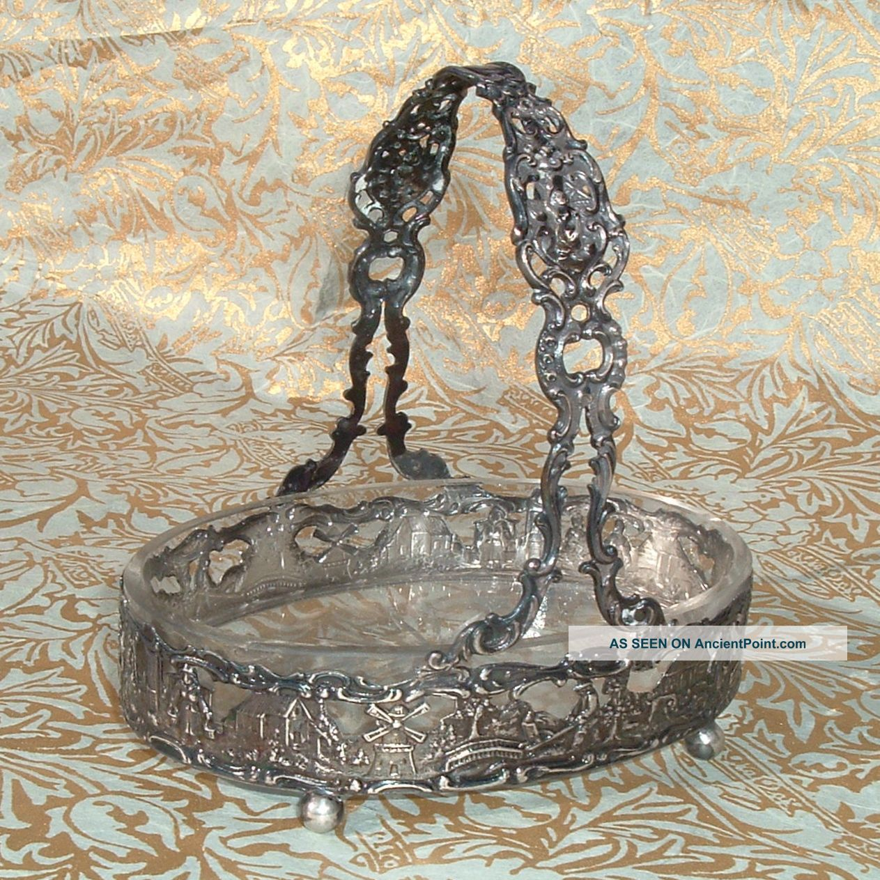 Antique Or Vintage Small German.  800 Silver & Glass Candy Basket ♅ Silver Alloys (.800-.899) photo
