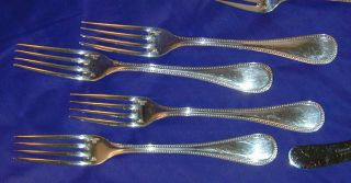 Vintage Pre - 1983 Vintage Set 4 Dinner Forks Perles Sp Christofle France No Mono photo