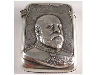 Fine Edward Vii Figural Silver Vesta Case.  Hallmarked Birmingham 1901 photo