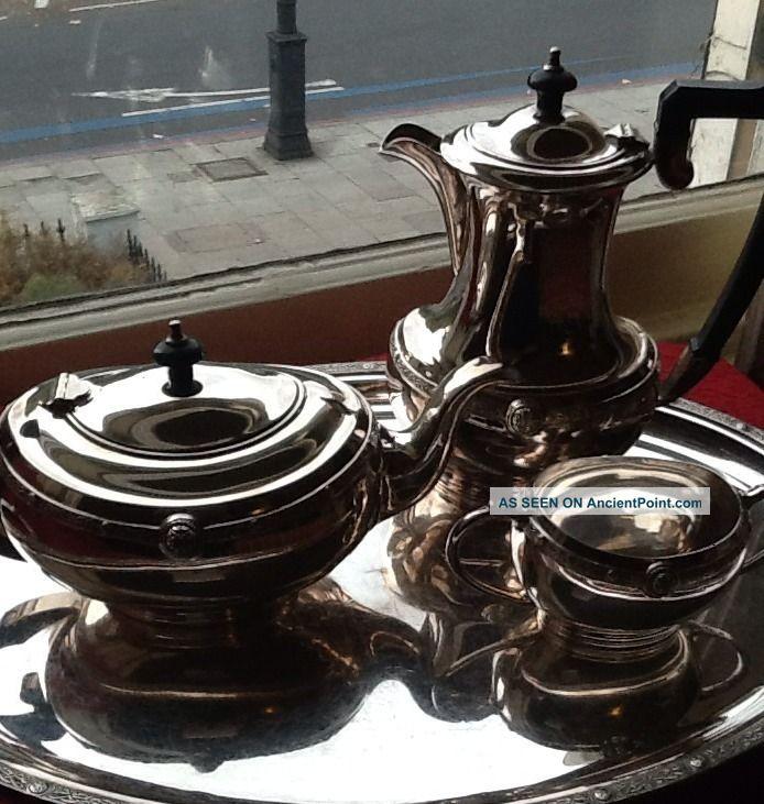 Elkington Cardinal Silver,  Plate Chinese Design Motif Tea Set,  Tray Also Listed Tea/Coffee Pots & Sets photo