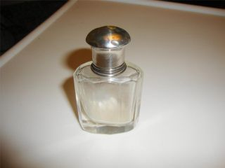 Sterling Silver Topped Faceted Glass Perfume Bottle photo