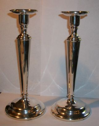 Antique Pair Sterling Silver Matthews Co Candle Sticks 9 1/8