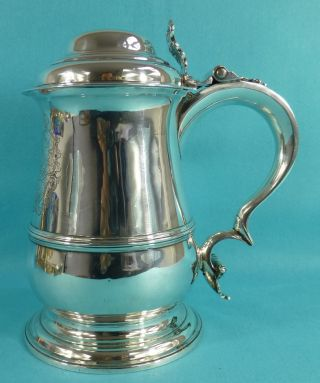 Magnificent Georgian Sterling Silver Tankard Coat Of Arms W & R Peaston 1762 photo