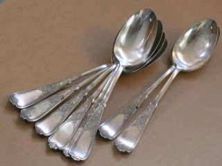 8 Soup Serving Spoons 1879 Newport / Chicago Pattern - Anchor Star - Rogers Bros photo