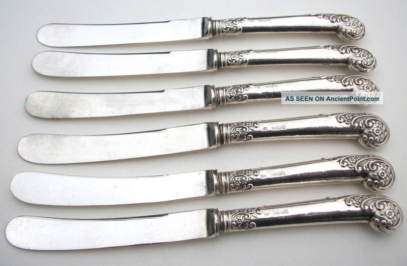 Antique Set Of 6 Sterling Silver Handled Butter Knives Sheffield 1912 Cutlery photo