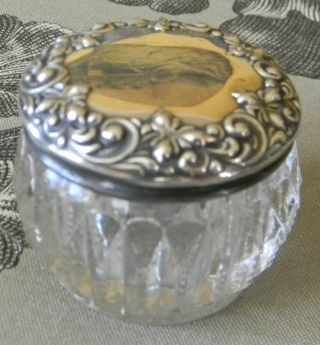 Antq American Brilliant Cut Crystal Sterling Silver Floral Repousse Vanity Jar photo