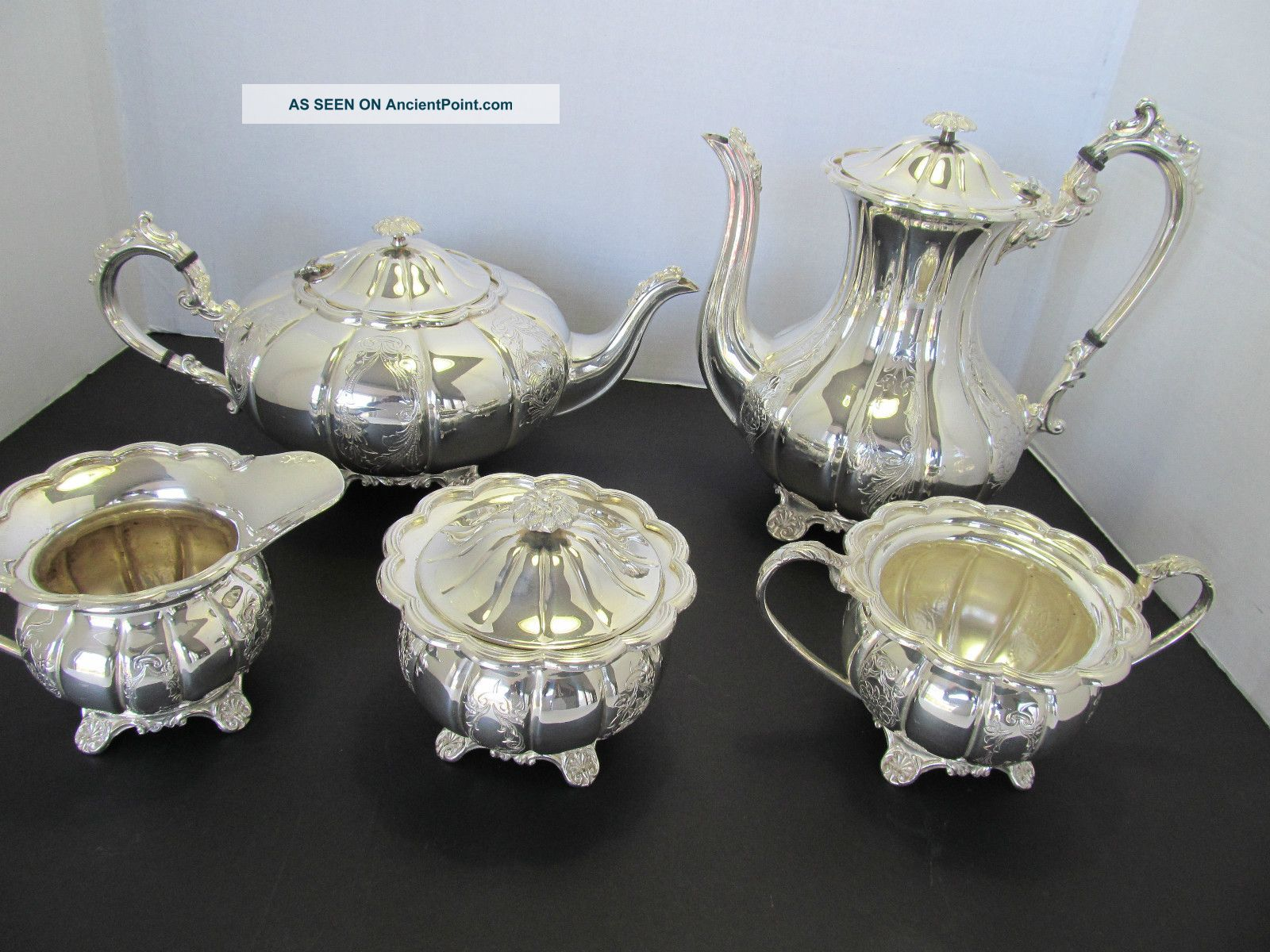 5 - Pc.  Fine English Repousse Hand - Chased Silver On Copper Tea & Coffee Set Tea/Coffee Pots & Sets photo