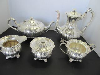 5 - Pc.  Fine English Repousse Hand - Chased Silver On Copper Tea & Coffee Set photo