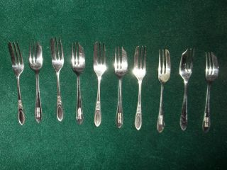 Shiffield England Set Of 10 Oyster Forks B G Ltd Epns And Ms Ltd Epns photo