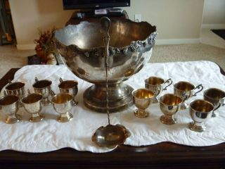 Antique Crown Gsc Copper With Silver Plate Punch Bowl / 12 Cups / Ladel photo